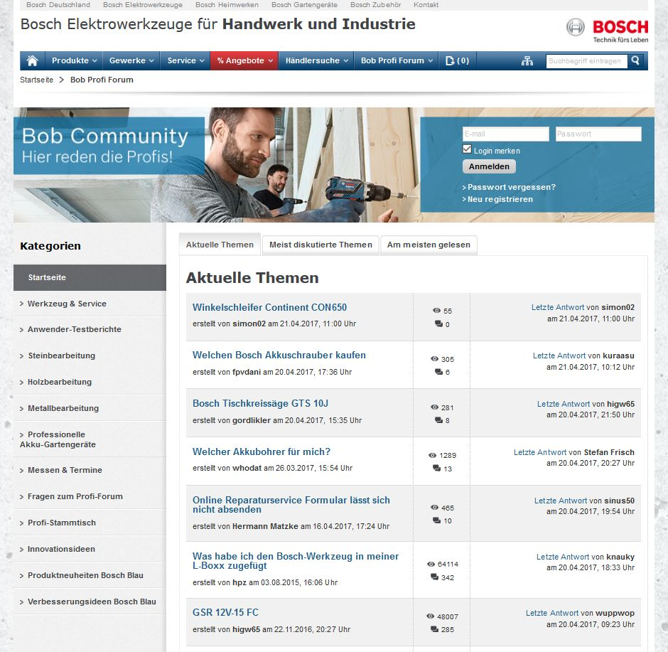 Screenshot: Bosch-Community unter https://www.bosch-professional.com/de/de/community/