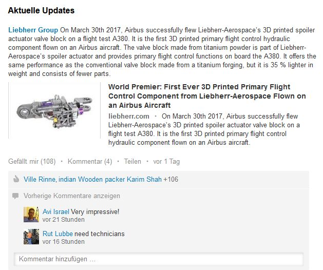 Screenshot: LinkedIn-Post von Liebherr