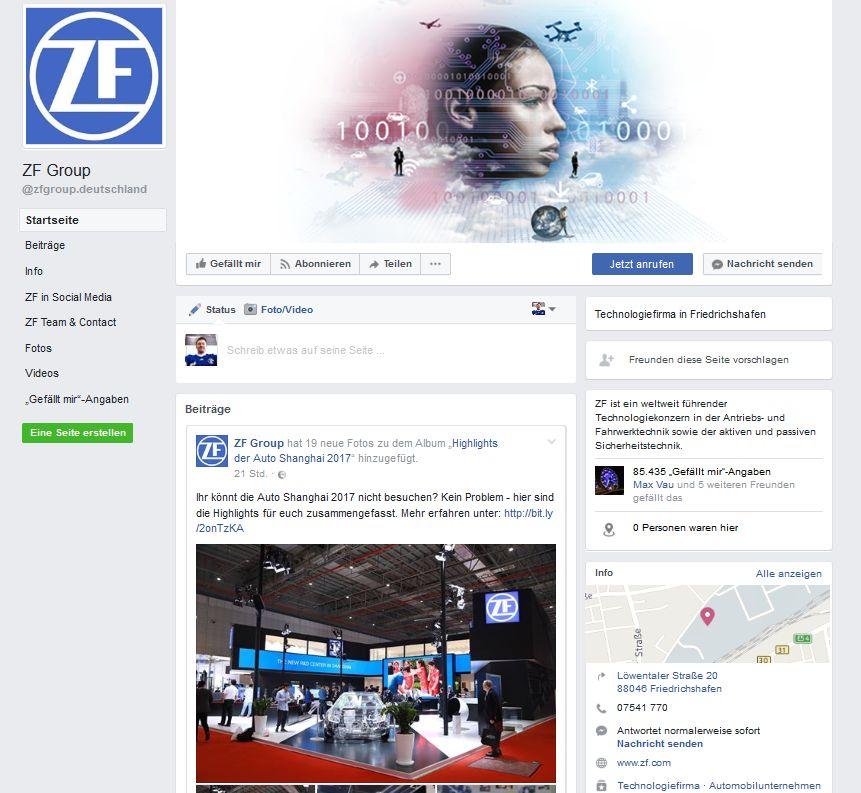 Screenshot: ZF-Facebook-Seite